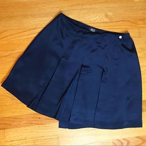Vintage 90s Navy Silk Wrap Pleated Mini Skirt 16